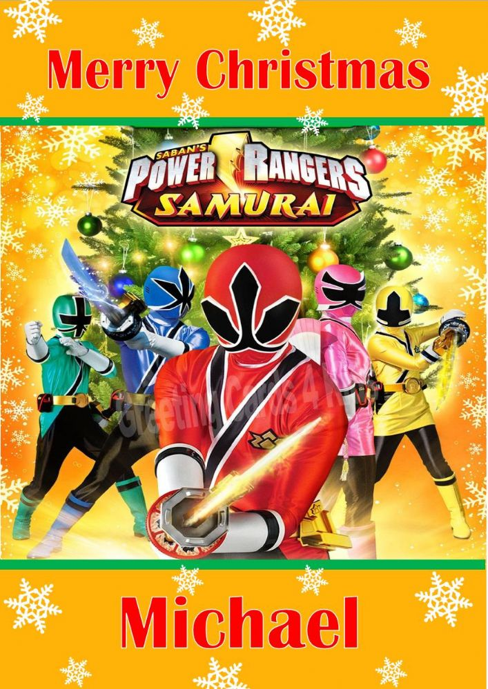 personalised power rangers samurai christmas card